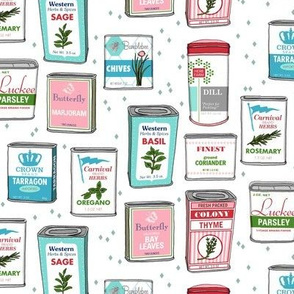 Spice Rack (White) || herb food kitchen packaging tins typography leaves diamonds illustration vintage retro Christmas holiday