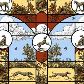 Autumn Stained Glass Small, Toile Greyhounds