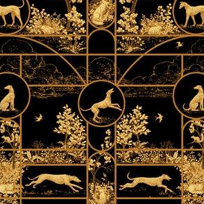 Autumn Black Stained Glass Small, Toile Greyhounds