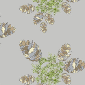 16-19N Winter Evergreen Tree Pinecone || Taupe Cream Green Mountain Wedding Slate Blue Large_Miss Chiff Designs