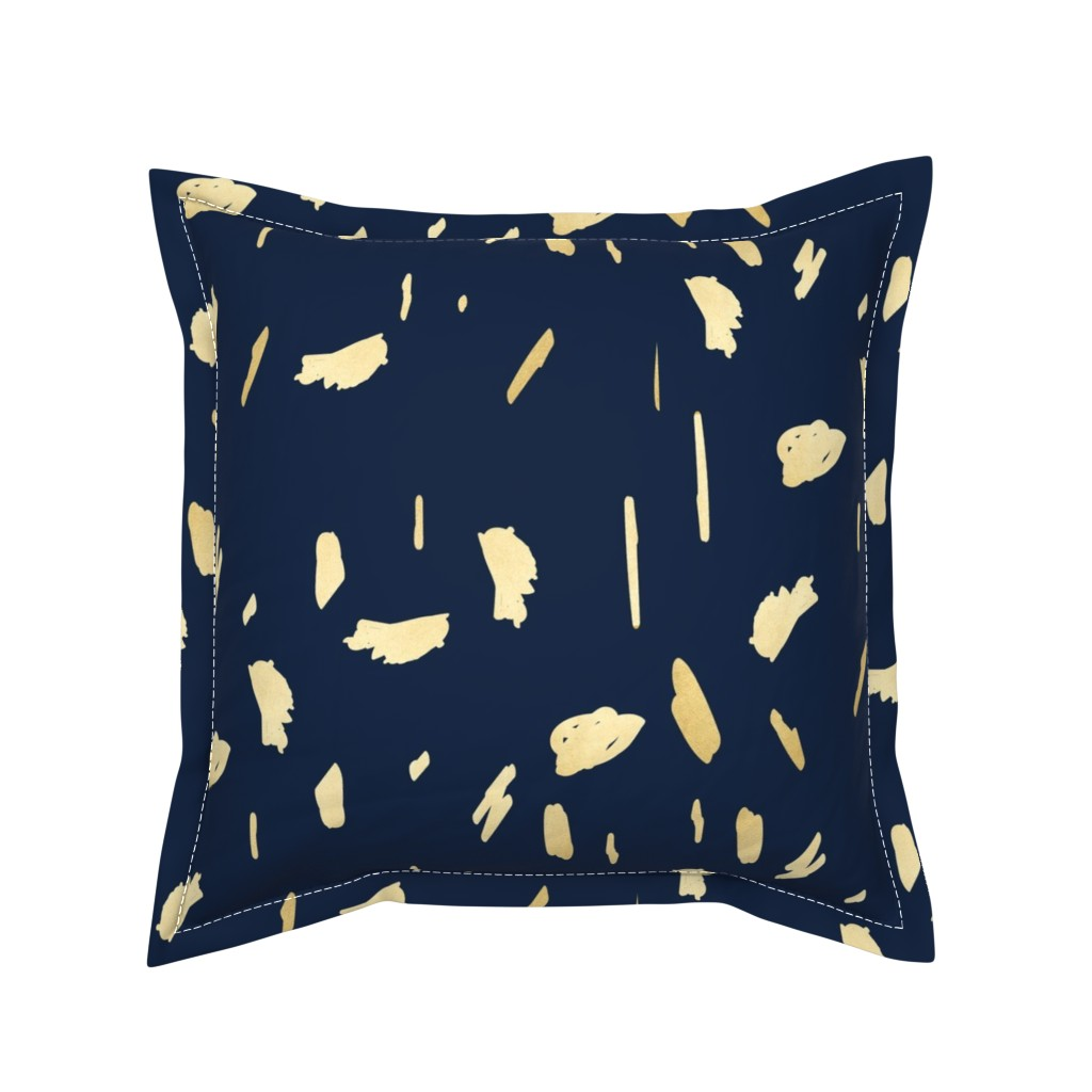 Serama Throw Pillow featuring Gold paint blobs on navy blue by mlags