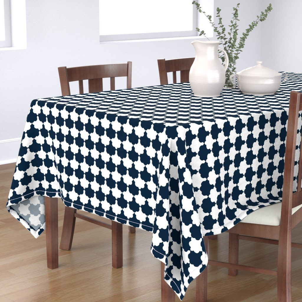 Bantam Rectangular Tablecloth featuring Navy and White Scallop by paper_and_frill