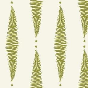 Moss Green Fern Ferns on Ivory Cream Offwhite