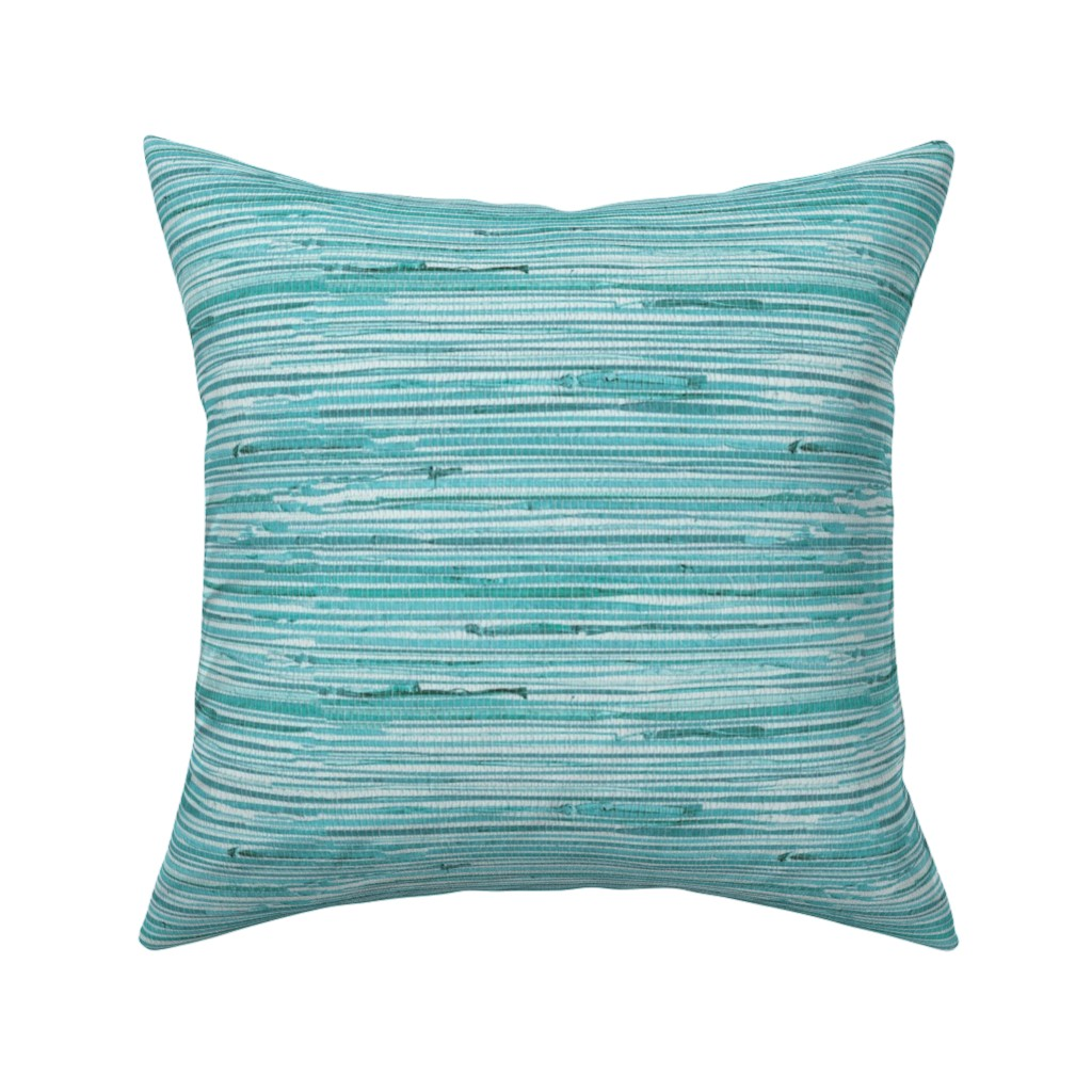 Catalan Throw Pillow featuring Aqua teal grasscloth woven wallpaper turquoise  by jenlats