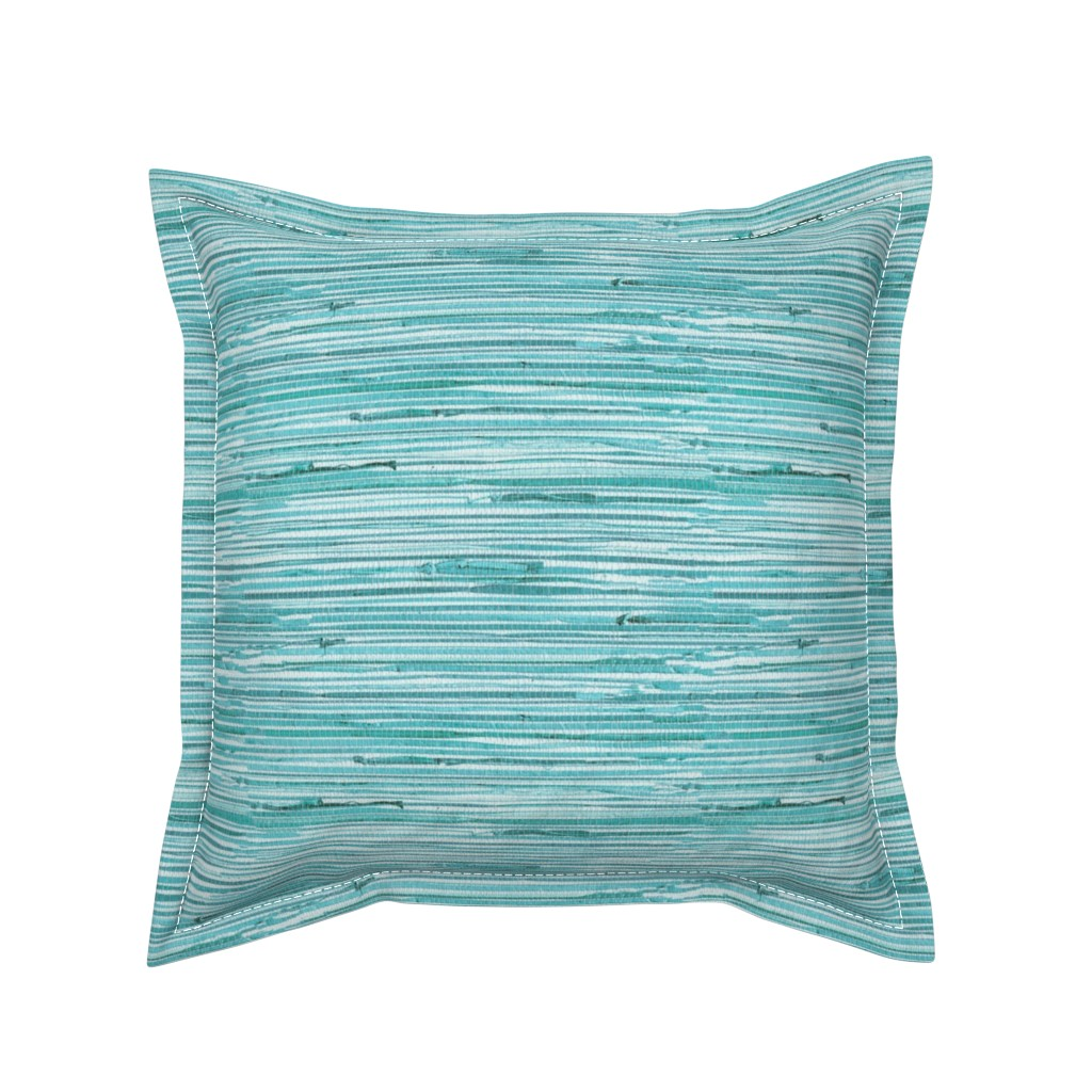 Serama Throw Pillow featuring Aqua teal grasscloth woven wallpaper turquoise  by jenlats