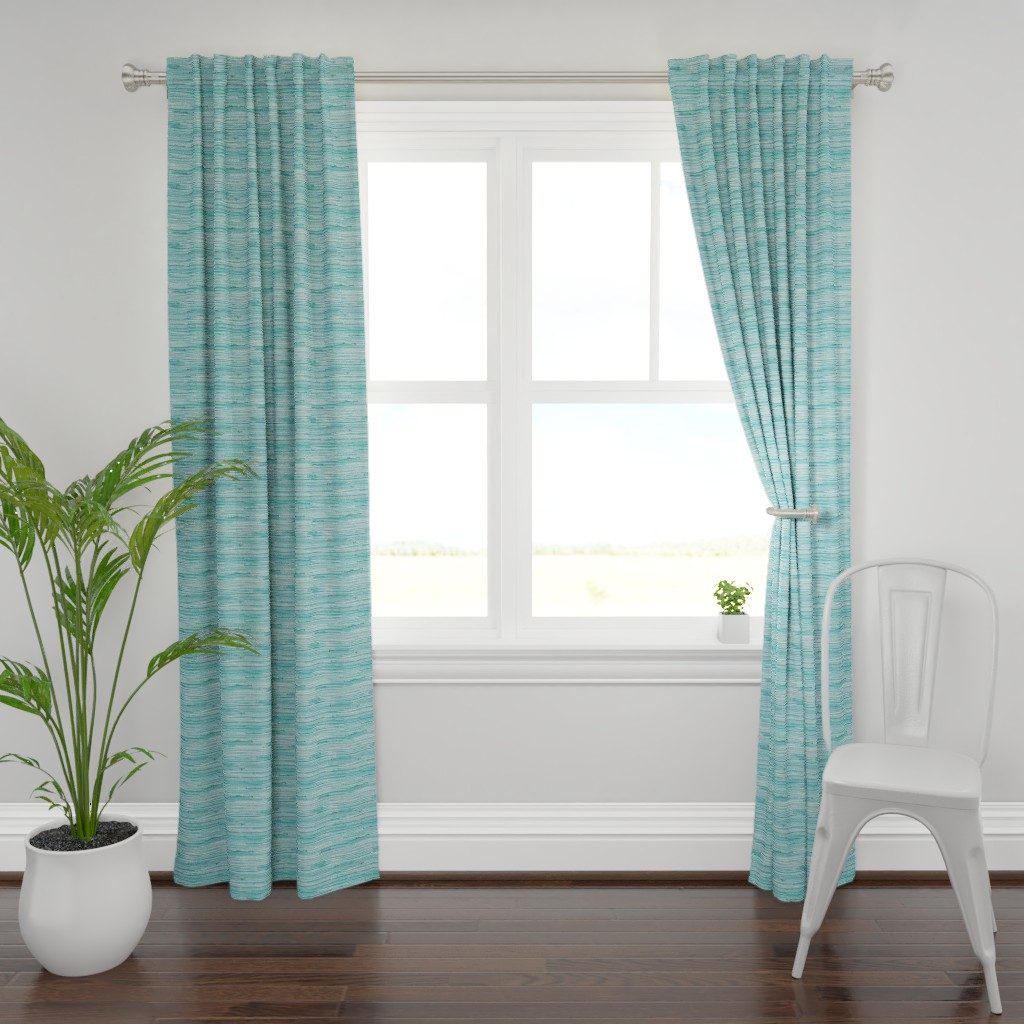 Plymouth Curtain Panel featuring Aqua teal grasscloth woven wallpaper turquoise  by jenlats