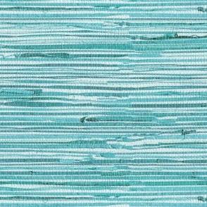 Aqua teal grasscloth woven wallpaper turquoise