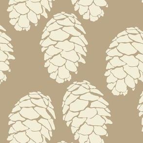 16-19J Winter Pinecone || Mountain Wedding Evergreen Winter Pine Tree Cream on Taupe Tan_Miss Chiff Designs