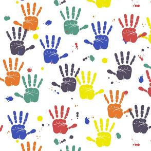 Dean's Fingerpaint Handprints With Drips