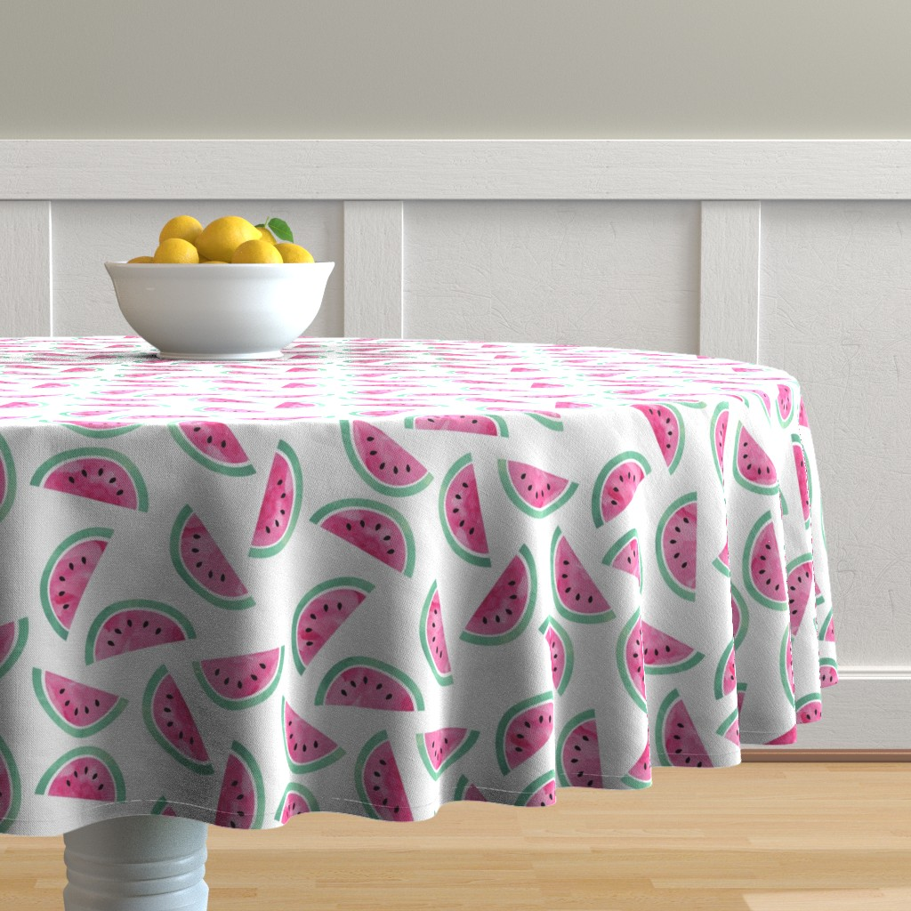 Malay Round Tablecloth featuring Watercolor Watermelon by littlearrowdesign