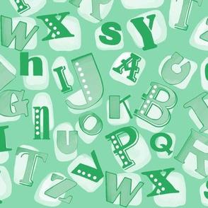 Alphabet in green