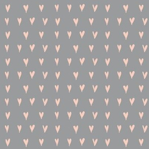 mini hearts - peach on grey