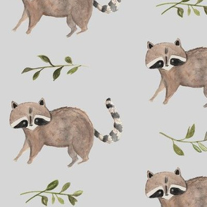 Watercolor Raccoon & Vines Grey Background