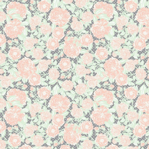Scattered vintage flowers on grey with white polka dots