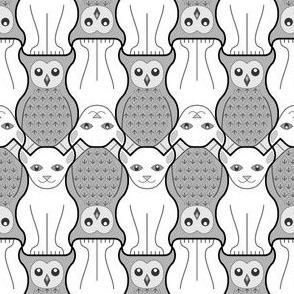 05049724 : owl + pussy cat : grey