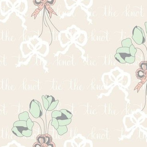 Tie-the-Knot  Calligraphy Floral || Peach cream gray grey green Bride Groom Wedding Bouquet_Miss Chiff Designs