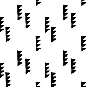 Geometric abstract triangle tree elements modern scaninavian style gender neutral print black and white