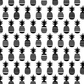 Fun black and white gender neutral ananas color pops geometric pineapple fruit summer beach theme illustration pattern