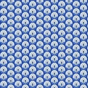 Circle Bud - blue on blue