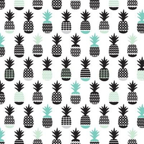 Fun black and white aqua blue and mint ananas color pops geometric pineapple fruit summer beach theme illustration pattern