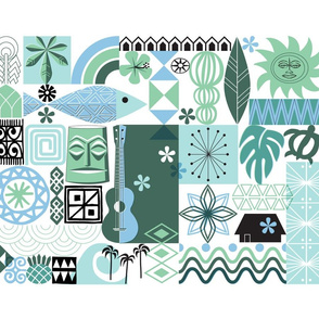 na paila Tea Towel* (Blue and Green) || Hawaii Hawaiian sun beach tropical palm trees atomic midcentury modern leaves flowers ukulele fish honu sea turtle rainbow tiki tribal waves ocean cut and sew kitchen bar