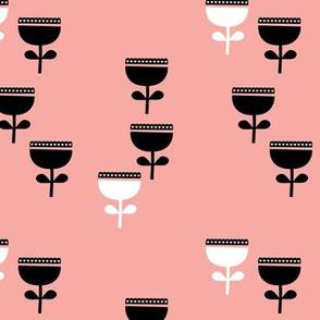 Scandinavian style retro large poppy flowers spring garden tulip black and white pastel pink