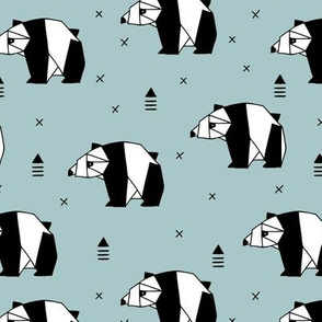 Origami animals cute panda geometric triangle and scandinavian style print black and white gray blue