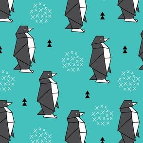 Origami animals cute ocean deep sea penguin geometric triangle and scandinavian style print black and white aqua blue