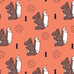 Origami woodland animals cute squirrel geometric triangle and scandinavian style print origami design coral orange