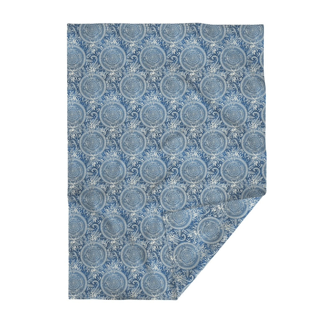 Lakenvelder Throw Blanket featuring Diamond and Doodle Mandalas on Blue by micklyn