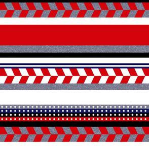 Red Grey White Aztec Stripe