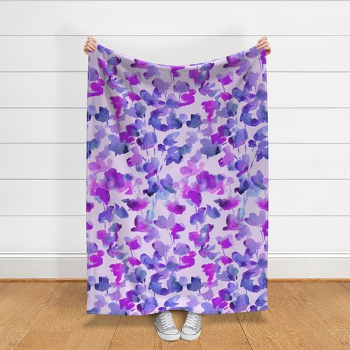 Watercolor  Purple Sweet Pea Abstract Rectangle Lumbar Throw Pillow by Spoonflower Flowers Accent Pillow Sweet Pea Violet by c/_manning