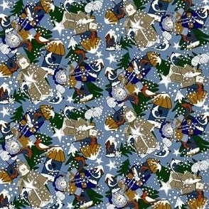 Doug and Petronella Snowman and Snow Lady Winter Trees, Snowflakes,  Birds & Birdhouses Fabric #1