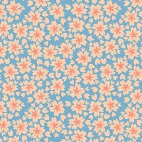 Sakura Blossom in Blue // Modern Japanese floral pattern by Zoe Charlotte