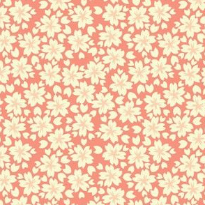 Sakura Blossom in Coral // Modern Japanese floral pattern by Zoe Charlotte