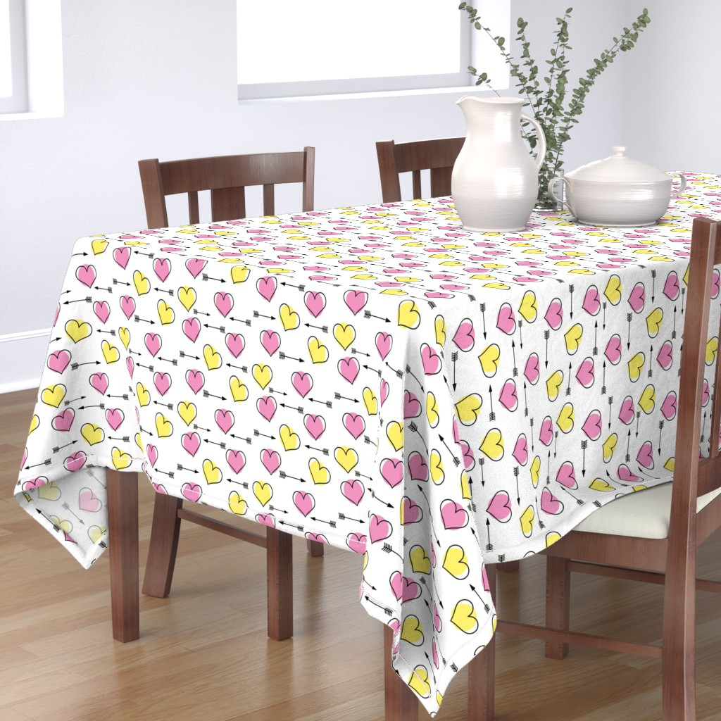 Bantam Rectangular Tablecloth featuring Pink and Yellow Hearts N' Arrows by sunshineandspoons