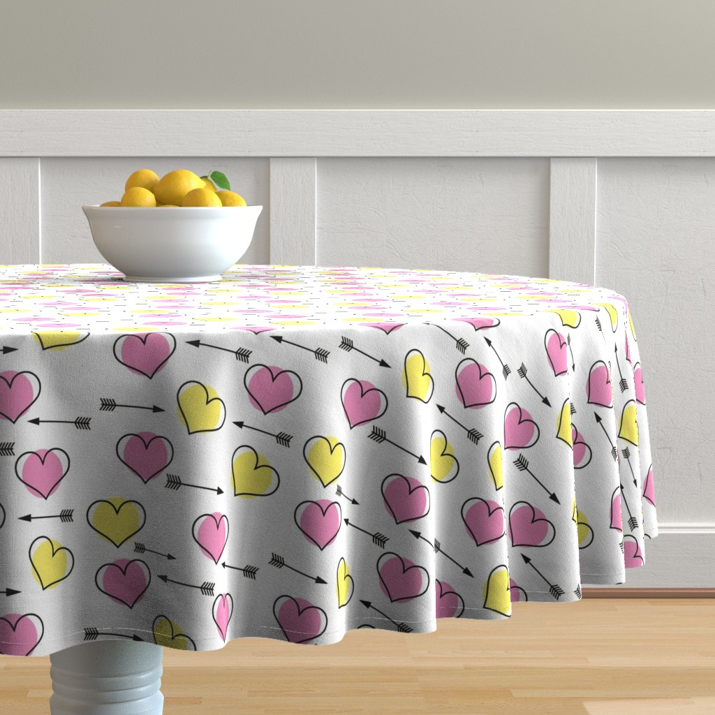 Malay Round Tablecloth featuring Pink and Yellow Hearts N' Arrows by sunshineandspoons
