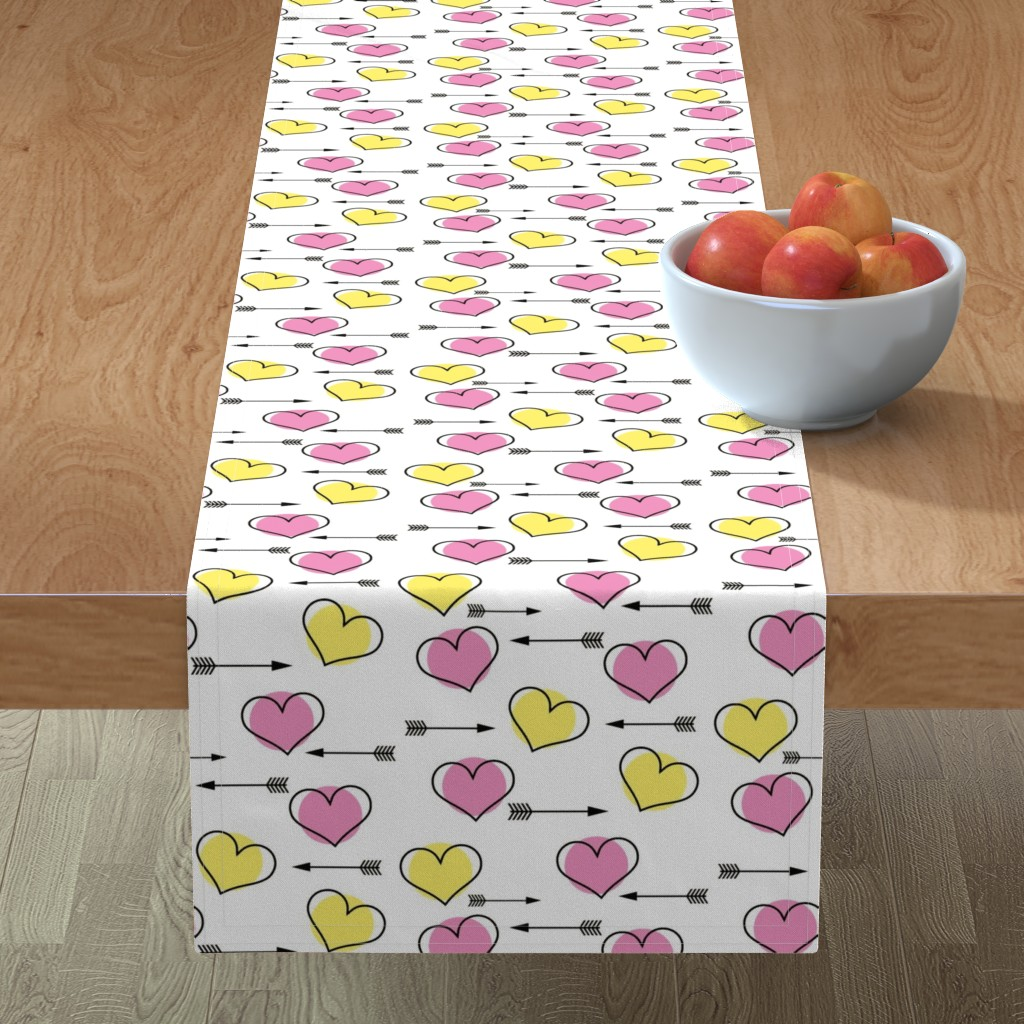 Minorca Table Runner featuring Pink and Yellow Hearts N' Arrows by sunshineandspoons