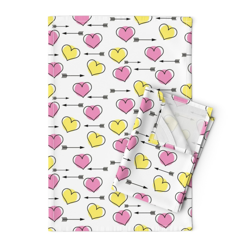 Orpington Tea Towels featuring Pink and Yellow Hearts N' Arrows by sunshineandspoons