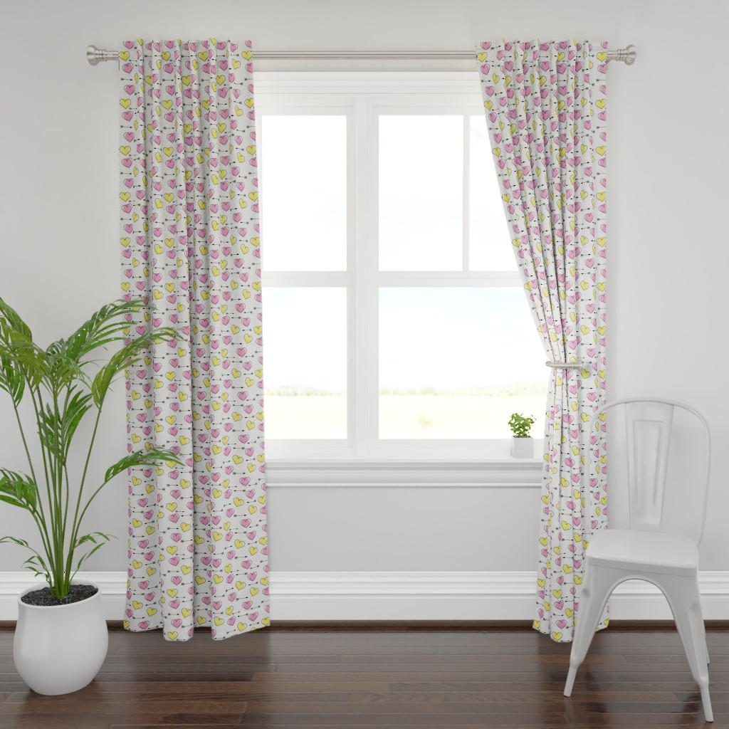 Plymouth Curtain Panel featuring Pink and Yellow Hearts N' Arrows by sunshineandspoons