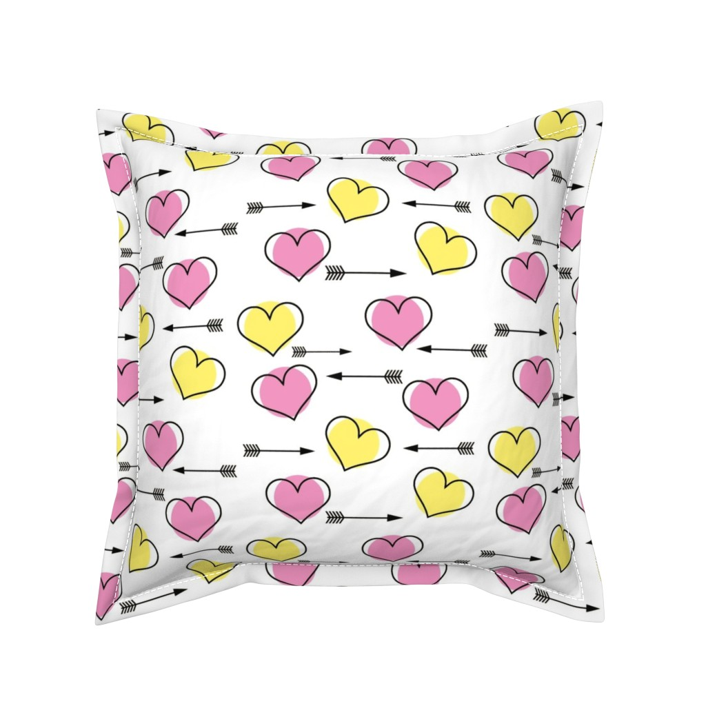 Serama Throw Pillow featuring Pink and Yellow Hearts N' Arrows by sunshineandspoons