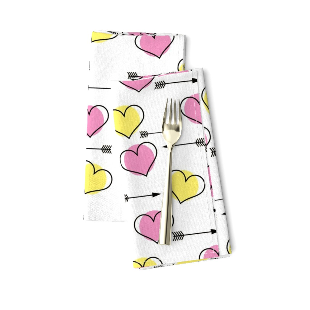 Amarela Dinner Napkins featuring Pink and Yellow Hearts N' Arrows by sunshineandspoons