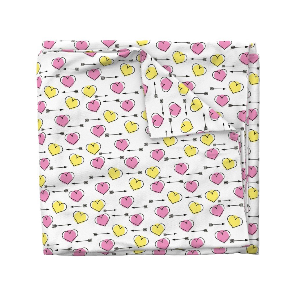 Wyandotte Duvet Cover featuring Pink and Yellow Hearts N' Arrows by sunshineandspoons