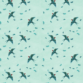 Love and Swooping Swallows in the Air, Pale Mint