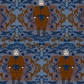 Grandpa Lewis Gray Is Beautiful Gentleman Victorian Flowers Fabric #1
