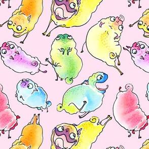 Leaping Pugs - rainbow on bubblegum