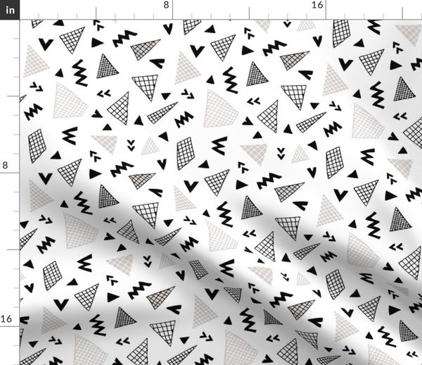 Fabric By The Yard Cool Abstract Memphis Style Geometric Triangle And Arrow Shapes Gender Neutral Beige Black And White