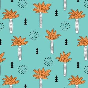 Cool summer geometric palm tree tropical holiday design gender neutral aqua blue orange