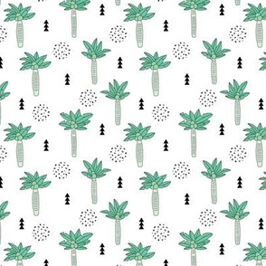 Cool summer geometric palm tree tropical holiday design gender neutral black and white mint green