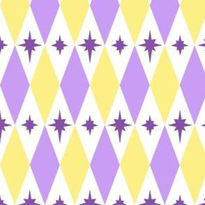 Harlequin Yellow Purple Diamond Starburst